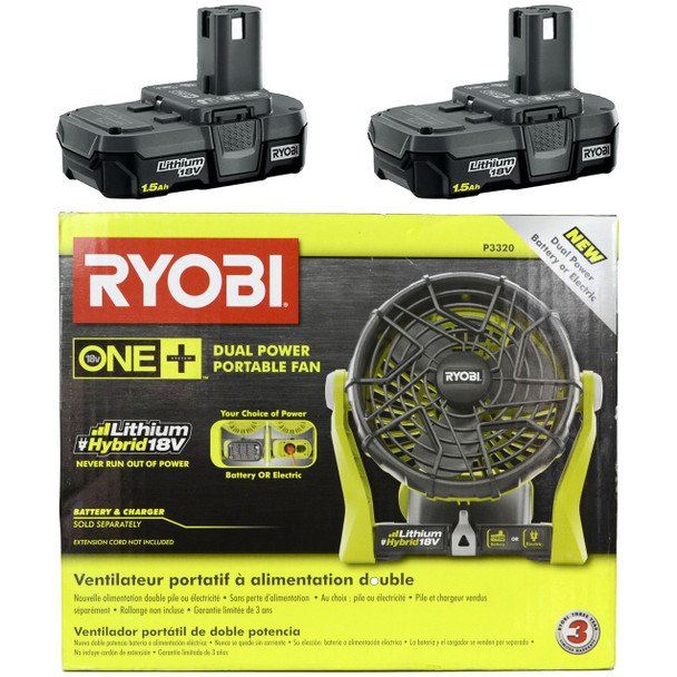 Ryobi P3320 18V Lithium-Ion Portable Fan and (2) Ryobi P189 18V 1.5 Ah Li-Ion Battery Packs