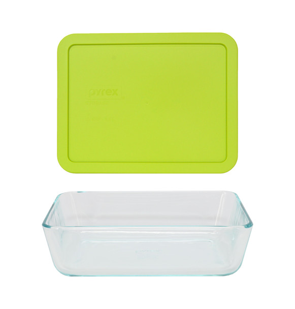 Pyrex 7211 6-Cup Rectangle Glass Food Storage Dish w/ 7211-PC 6-Cup Edamame Green Lid Cover