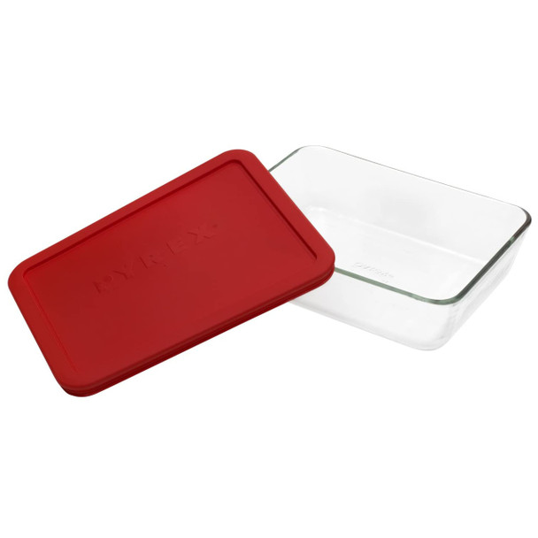 Pyrex 7211 6-Cup Rectangle Glass Food Storage Dish w/ 7211-PC 6-Cup Red Lid Cover