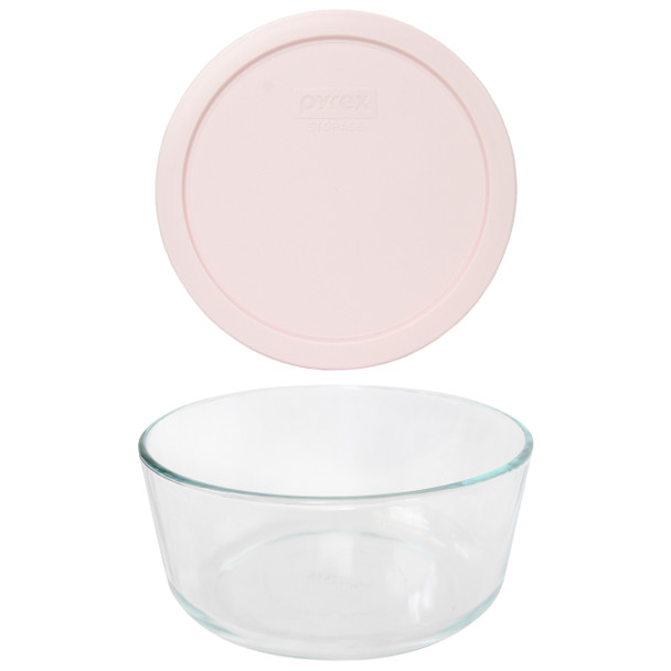 Pyrex 7203 7-Cup Round Glass Food Storage Bowl w/ 7402-PC 7-Cup Loring Pink Plastic Lid Cover