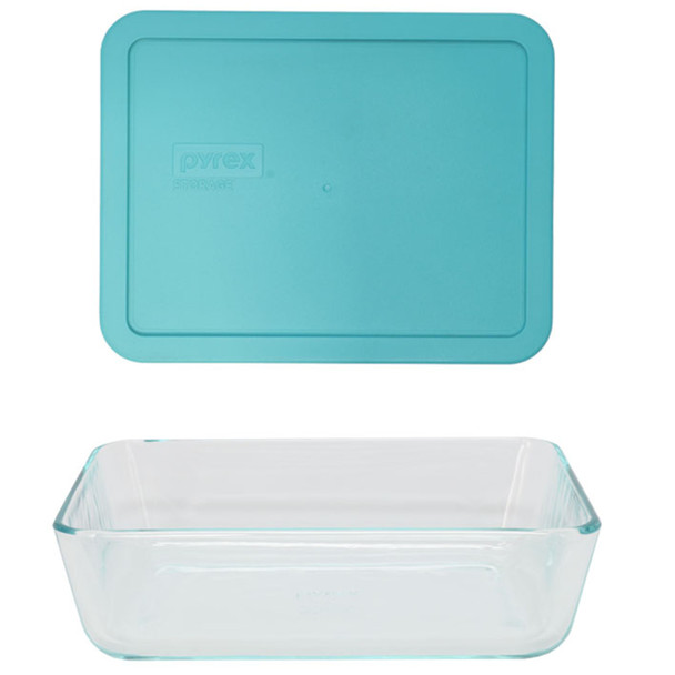 Pyrex 7211 6-Cup Rectangle Glass Food Storage Dish w/ 7211-PC 6-Cup Turquoise Lid Cover