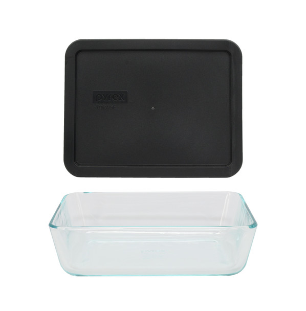 Pyrex 7211 6-Cup Rectangle Glass Food Storage Dish w/ 7211-PC 6-Cup Black Lid Cover