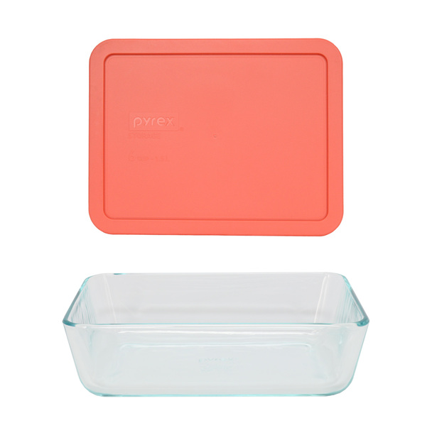 Pyrex 7211 6-Cup Rectangle Glass Food Storage Dish w/ 7211-PC 6-Cup Coral Orange Lid Cover