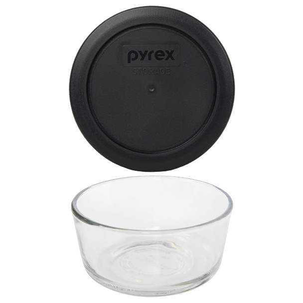 Pyrex Simply Store 7200 2-Cup Glass Storage Bowl w/ 7200-PC 2-Cup Black Lid Cover