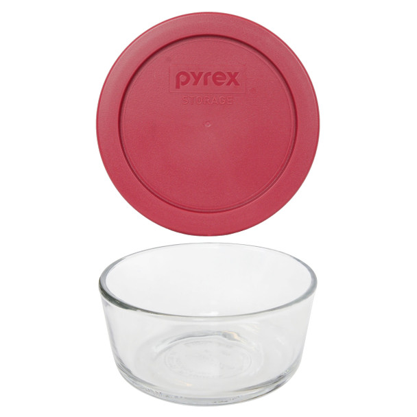 Pyrex Simply Store 7200 2-Cup Glass Storage Bowl w/ 7200-PC 2-Cup Berry Red Lid Cover