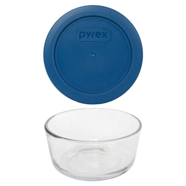 Pyrex Simply Store 7200 2-Cup Glass Storage Bowl w/ 7200-PC 2-Cup Blue Spruce Lid Cover