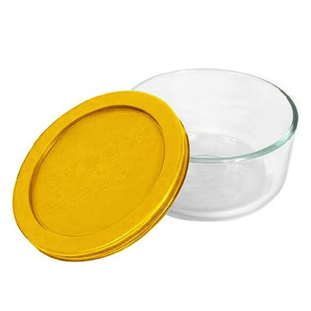 Pyrex Simply Store 7200 2-Cup Glass Storage Bowl w/ 7200-PC 2-Cup Butter Yellow Lid Cover