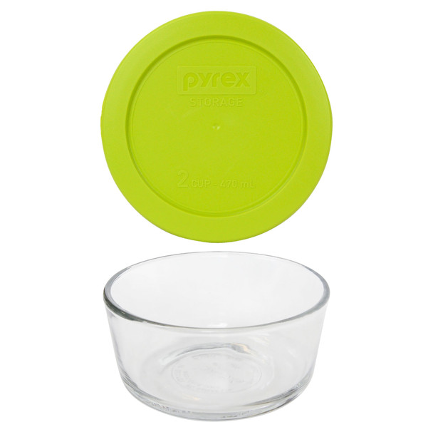 Pyrex Simply Store 7200 2-Cup Glass Storage Bowl w/ 7200-PC 2-Cup Edamame Green Lid Cover