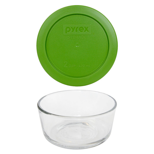 Pyrex Simply Store 7200 2-Cup Glass Storage Bowl w/ 7200-PC 2-Cup Lawn Green Lid Cover