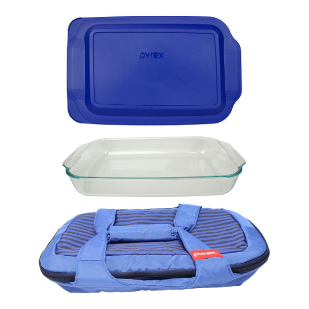 Pyrex Portables Royal Blue Carry Tote w/ Pyrex 233 3qt Glass Baking Dish & Pyrex 233-PC 3qt Blue Lid