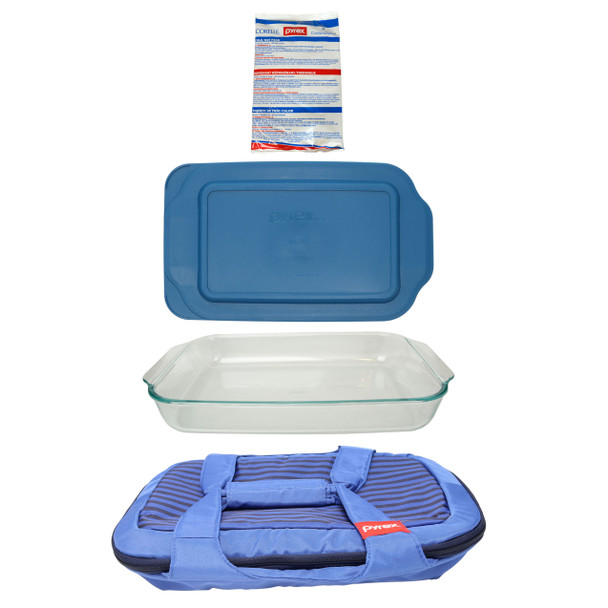 Pyrex Portables Blue Carry Tote w/ (1) Large Hot/Cold Pack, (1) 233 3qt Glass Baking Dish and (1) 233 3qt Blue Spruce Lid