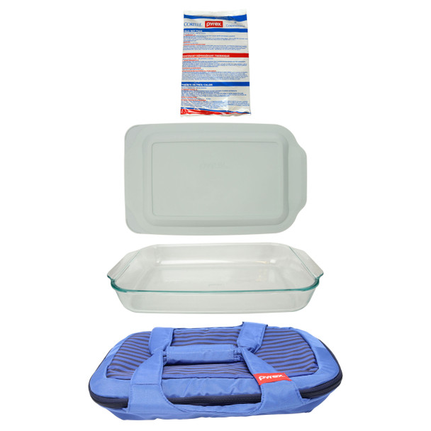 Pyrex Portables Blue Carry Tote w/ (1) Large Hot/Cold Pack, (1) 233 3qt Glass Baking Dish and (1) 233 3qt Sage Green Lid