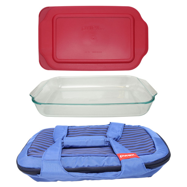Pyrex Portables Royal Blue Carry Tote w/ Pyrex 233 3qt Glass Baking Dish & Pyrex 233-PC 3qt Sangria Red Lid