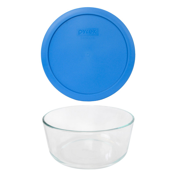 Pyrex 7203 7-Cup Round Glass Food Storage Bowl w/ 7402-PC 7-Cup Marine Blue Plastic Lid Cover