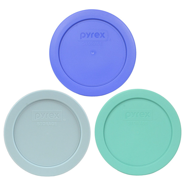 Pyrex 7200-PC Amparo Blue, Muddy Aqua, and Sea Glass Blue Replacement Lid Covers