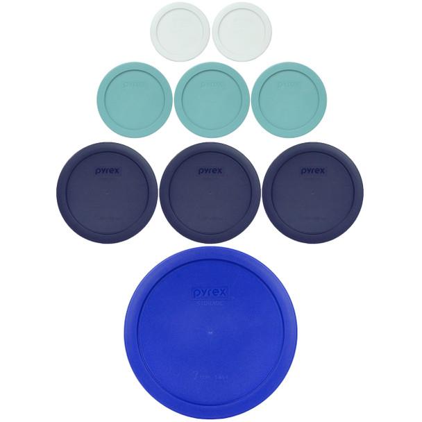 Pyrex 7202-PC White, 7200-PC Turquoise, 7201-PC Blue, 7402-PC Cadet Blue Lid Set