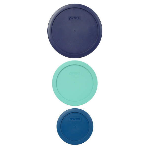 Pyrex (1) 7402-PC Blue Lid, (1) 7201-PC Sea Glass Green Lid, and (1) 7200-PC Blue Spruce Lid