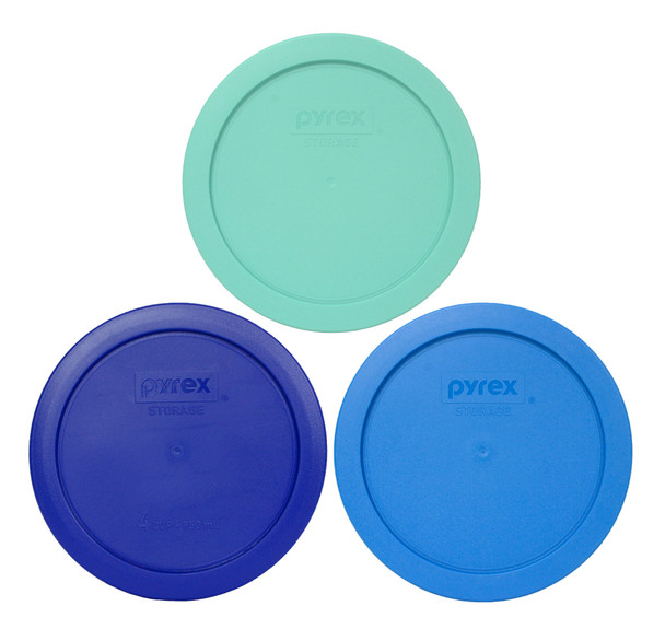 Pyrex 7201-PC Sea Glass Green, 7201-PC Cadet Blue, 7201-PC Marine Blue Food Storage Replacement Lid Covers