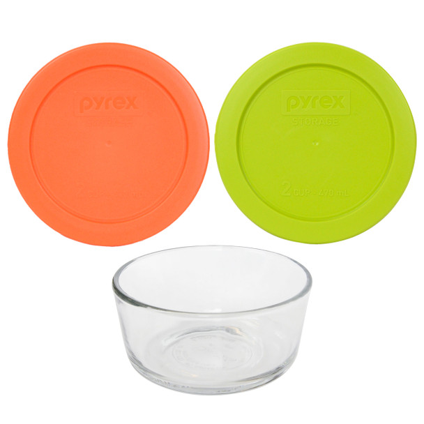 Pyrex Simply Store 7200 2-Cup Glass Storage Bowl w/ (1) 7200-PC Orange & (1) Edamame Green 2-Cup Lid Cover