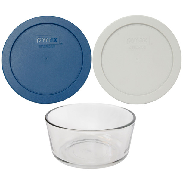 Pyrex Simply Store 7201 4-Cup Glass Storage Bowl w/ (1) 7201-PC Blue Spruce & (1) Sleek Silver 4-Cup Lid Cover