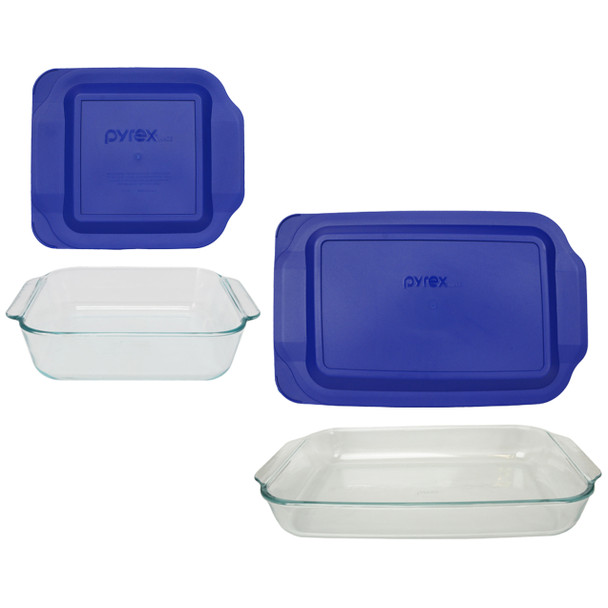 Pyrex 233 3qt Glass Dish & 222 2qt Glass Dish with 233-PC & 222-PC Blue Plastic Lids