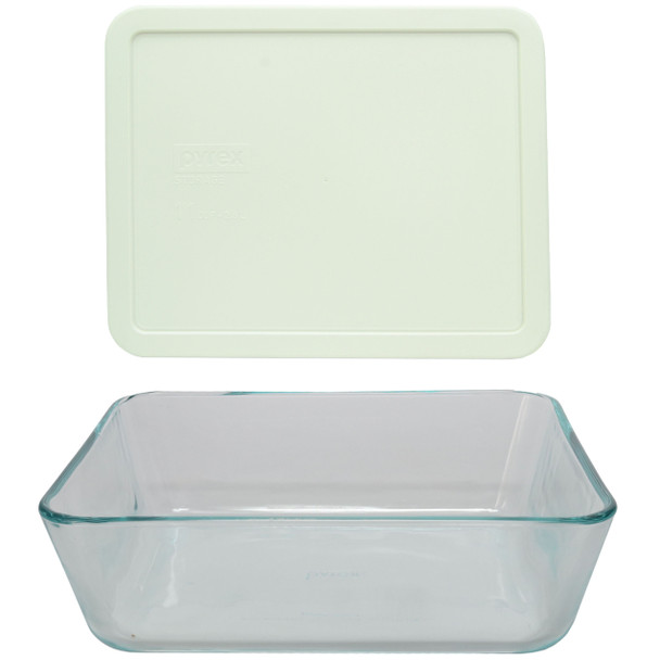 Pyrex 7212 11-Cup Rectangle Glass Food Storage Dish w/ 7212-PC 11-Cup White Lid Cover