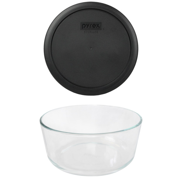 Pyrex 7203 7-Cup Round Glass Food Storage Bowl w/ 7402-PC 7-Cup Black Plastic Lid Cover