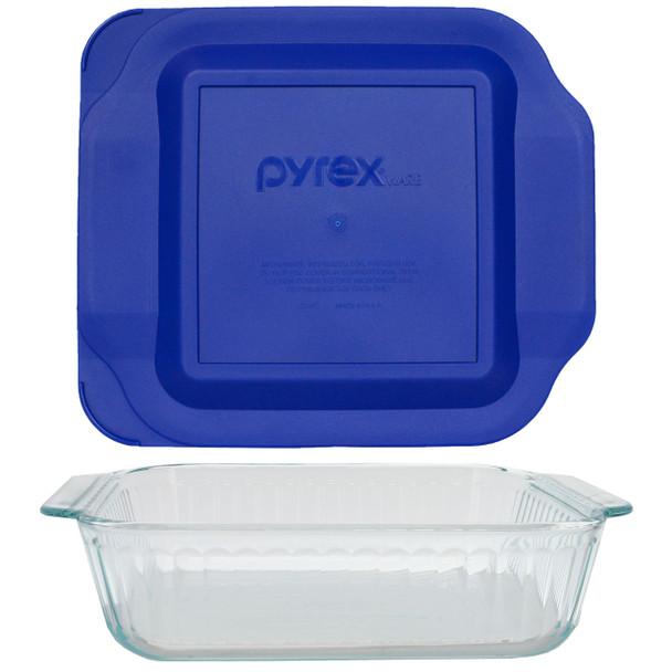 Pyrex 222-SC Sculpted Glass Baking Dish w/ 222-PC Blue Plastic Lid Cover