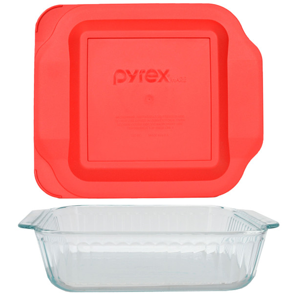 Pyrex 222-SC Sculpted Glass Baking Dish w/ 222-PC Red Plastic Lid Cover