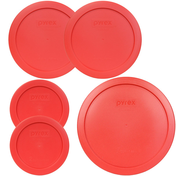 Pyrex 7200-PC, 7201-PC, 7402-PC Red Food Storage Replacement Lids