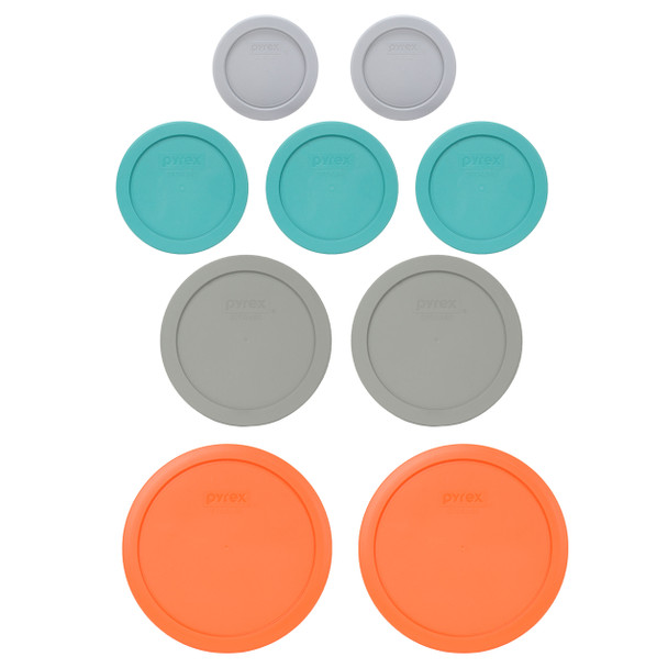 Pyrex (2) 7202-PC Jet Grey, (3) 7200-PC Turquoise, (2) 7201-PC Jet Grey, & (2) 7402-PC Orange Food Storage Replacement Lids