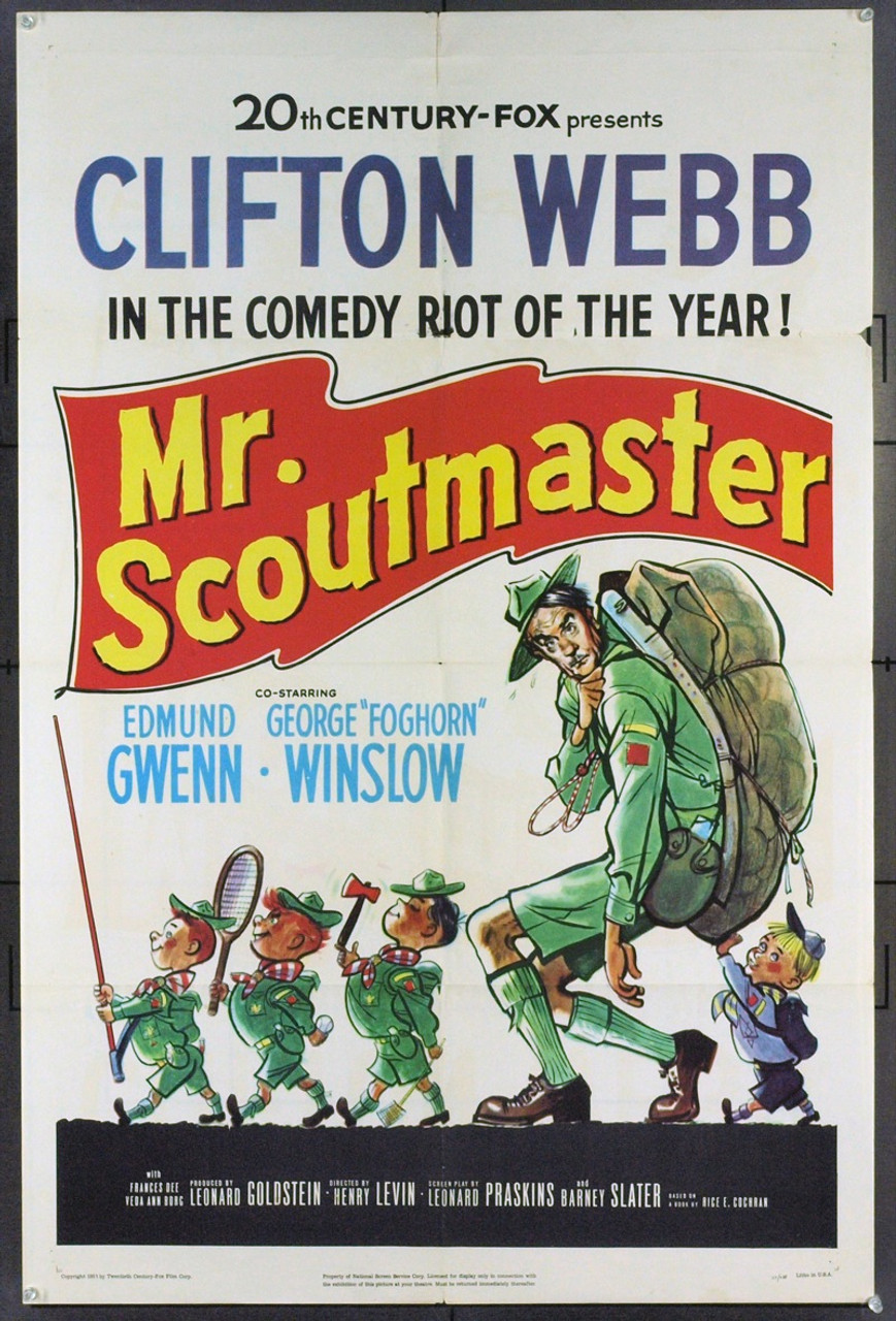 Original Mister Scoutmaster (1953) movie poster in F+ condition ...