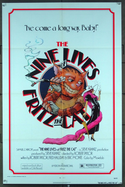 NINE LIVES OF FRITZ THE CAT, THE (1974) 2989 American International Original One-Sheet Poster (27x41).  Folded.  Very Fine Condition.