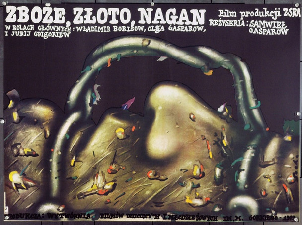 BREAD, GOLD, GUN (1981) 22220 Original Polish Poster (27x36).  Socha Artwork.  Unfolded.  Very Fine.