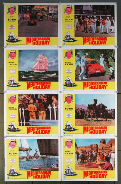 MEDITERRANEAN HOLIDAY (1962) 26037 Busch Media Group Original Lobby Card Set (11x14) Eight Cards  Very Fine Condition