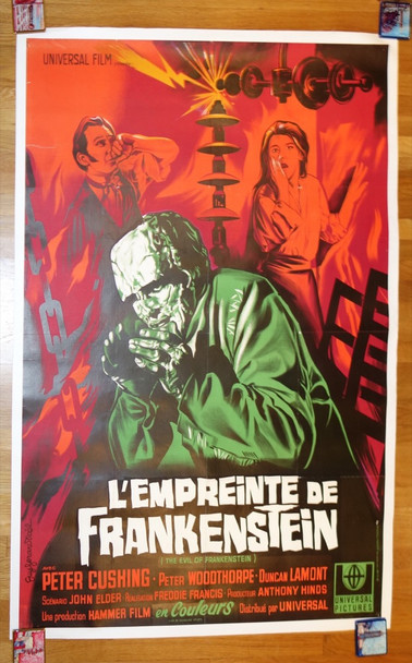 EVIL OF FRANKENSTEIN, THE (1964) 26481 Universal Pictures French 47x63 Re-release of 1966  Linen Backed  Fine Plus Condition  Restored to Very Fine