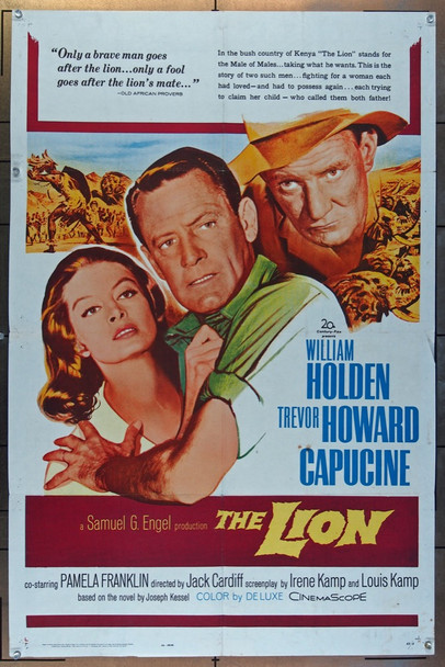 LION, THE (1963) 26101 20th Century Fox Original One-Sheet Poster (27x41) Folded.  Good Condition.  Average Used
