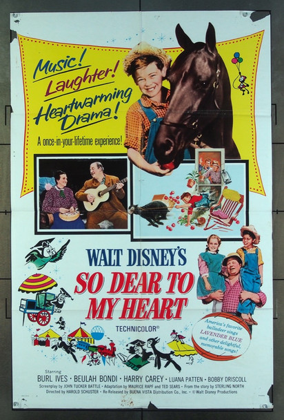 SO DEAR TO MY HEART (1949) 11333 Walt Disney Company One-Sheet Poster  (27x41) Folded  Fair Condition  Re-release of 1966