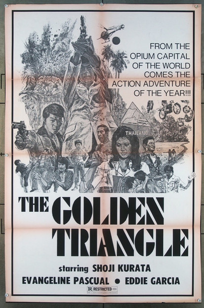 GOLDEN TRIANGLE, THE (1975) 26587 Original Movie Poster Distributed by Ocean Shores  One-Sheet (27x41) Fair Condition