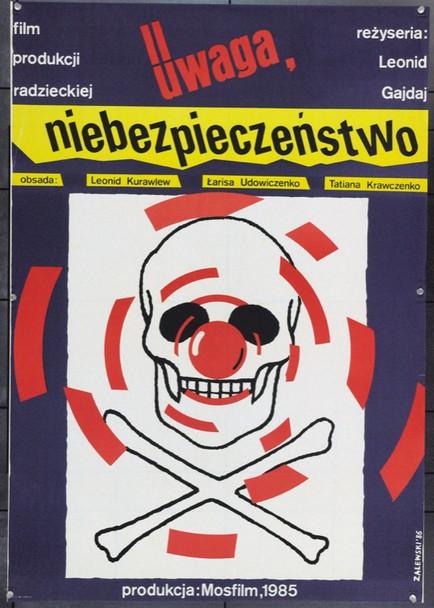DANGEROUS FOR YOUR LIFE (1985) 22236 Original Polish Poster (27x39).  Zalewski Artwork.  Unfolded.  Very Fine.