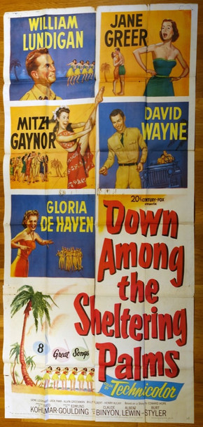 DOWN AMONG THE SHELTERING PALMS (1951) 9972 20th Century Fox Original Three Sheet Poster (41x81)  Movie Poster  Good Condition  Theater used.