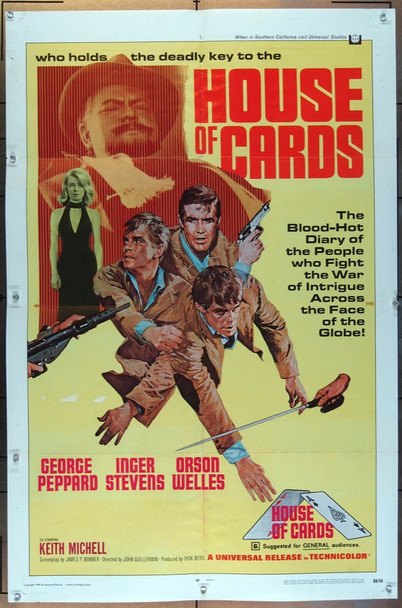 HOUSE OF CARDS (1968) 26086 Universal Pictures Original One-Sheet Poster (27x41) Folded  Very Good Condition