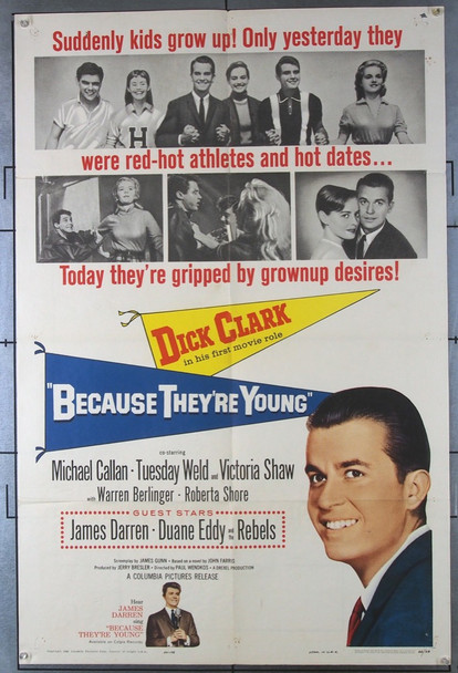 BECAUSE THEY'RE YOUNG (1960) 11117 Columbia Pictures Original One-Sheet Poster (27x41) Folded  Very Good Condition  Theater-Used