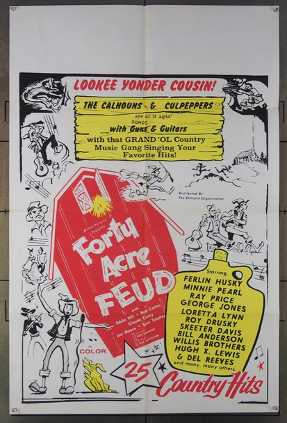 FORTY ACRE FEUD (1965) 7660 Original Ormand Pictures One-Sheet Poster (27x41) Folded  Fine Plus Condition