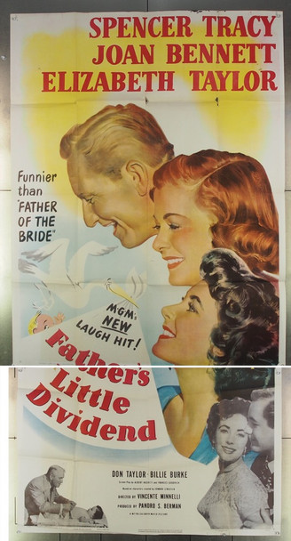 FATHER'S LITTLE DIVIDEND (1951) 7793 MGM Original Three Sheet Poster (41x81) Folded  Very Good Condition