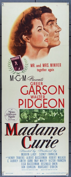 MADAME CURIE (1943) 22645 MGM Insert Poster.  (14x36)  Folded.  Fine Condition with fold lines