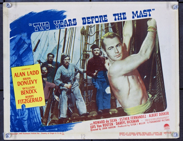 TWO YEARS BEFORE THE MAST (1946) J21730 Original Paramount Pictures Scene Lobby Card (11x14) .  Very Good Condition