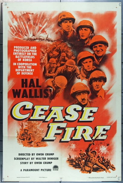 CEASE FIRE! (1953) 20775 Paramount Pictures Original Lobby Card Set  Eight 11x14 Cards  Very Fine Condition  Director Owen Crump
