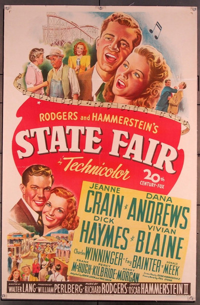 STATE FAIR (1945) 19728 Original 20th Century-Fox One Sheet Poster (27x41).  Stone Lithograph.  Linen-Backed.  Very Good Plus Condition