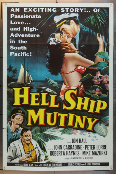 HELL SHIP MUTINY (1957) 14358 Original Republic Pictures One Sheet Poster (27x41).  SPECIAL Tri-Folded.  Very Fine.
